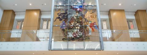 Art display in Julius Romo Rabinowitz atrium